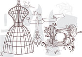 复古套-时尚和缝纫 — 图库矢量图片