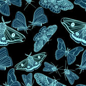 Seamless background with moth — 图库矢量图片