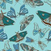 无缝背景与可爱飞蛾 — 图库矢量图片