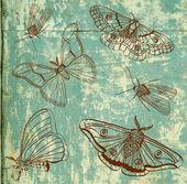 Vieux fond avec papillon, vintage — Vecteur