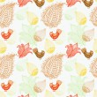 Seamless Background with funny birds and flowers - Stockvektor