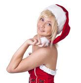 красивая улыбается женщина в одежде санта клауса, портрет — Стоковое фото
