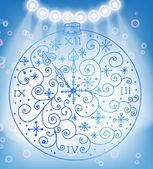 Fondo de navidad con reloj ornamental — Vector de stock