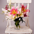 White and pink lily flowers, vintage card — Stock Photo
