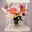 White and pink lily flowers, vintage card — Stock Photo #11797988