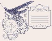 クリスマス手描きクリスマス デザインのカード — ストックベクタ