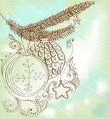 Mano natale disegnata carta per disegno natale — Vettoriale Stock