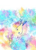 蝶とロマンチックなカラフルな花の背景 — ストックベクタ