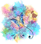Romantic colorful floral background with butterfly — ストックベクタ