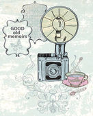 Vintage background with retro photo camera — Stock Vector
