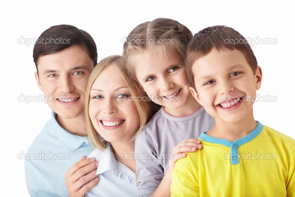 Happy family on a white background — Stock Photo #11275298