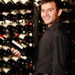 Rack of bottles of wine — Stock Photo