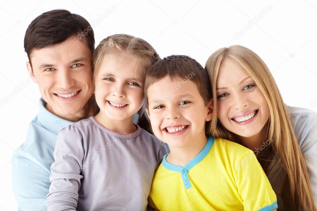 Families with children on a white background — Stock Photo #11586297