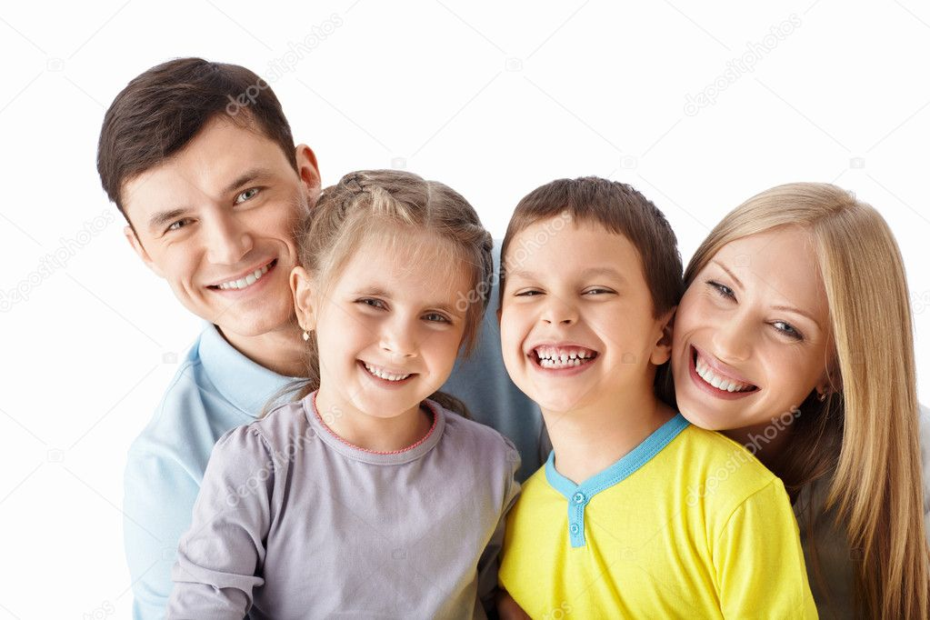 Happy family with children on a white background — Stock Photo #11906043