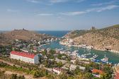 Bird-eye view of Balaklava bay with yachts and small ships — Stock Photo