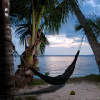 Evening view of hammock strung between two palms on tropical isl - Stock Photo