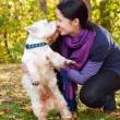 Happy woman with west highland white terrier dog in autumn fores — Stock Photo