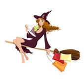 Halloween witch flying on the broom — Stock Vector