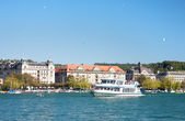 Uto-Quai with its historical building seen from Zurich see port — Stock Photo