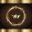 Royal background with golden ornate frame and heraldic crown — Stock Vector