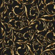 Golden seamless floral background, pattern for continuous replic - Stock Vector