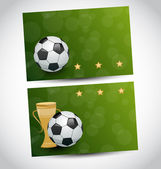 Football cards with champion cup and place for your text — Stock Vector