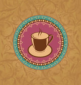 Cute ornate vintage with coffee cup — Stock Vector