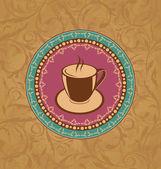 与咖啡杯子可爱华丽复古 — 图库矢量图片