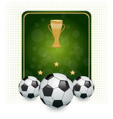 Football layout with champion cup and place for your text — Stock Vector