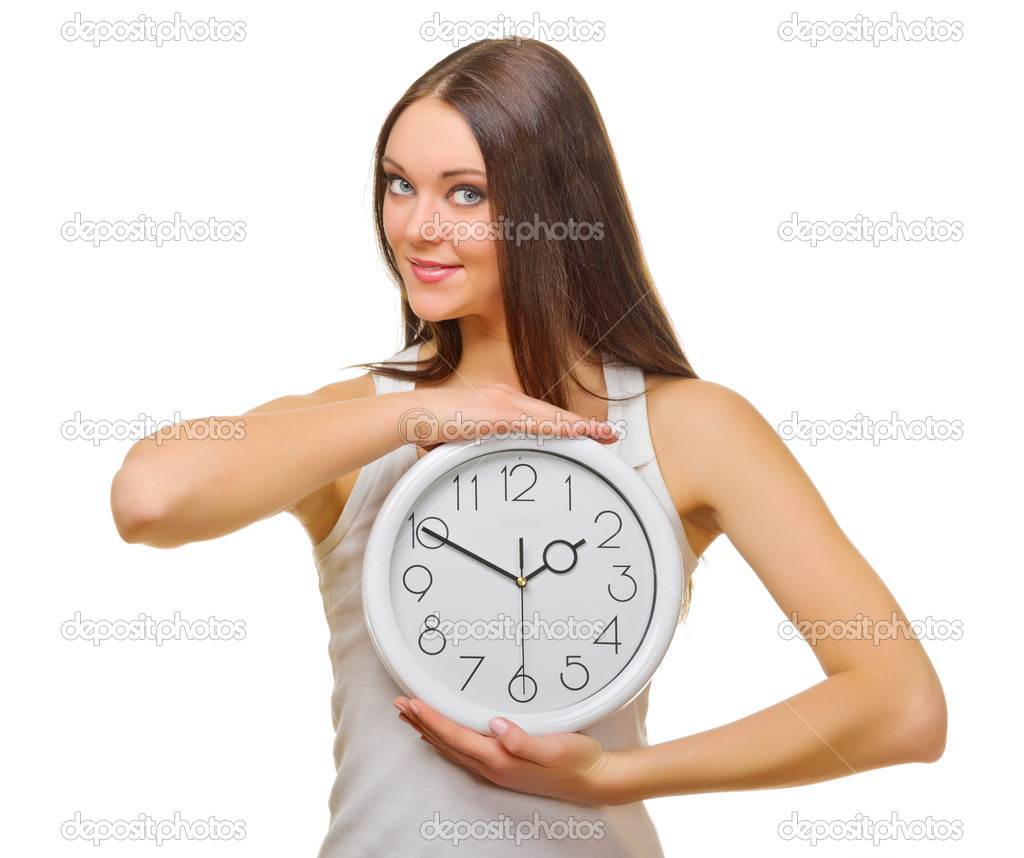 Young woman with clocks isolated — Stock Photo #11646431