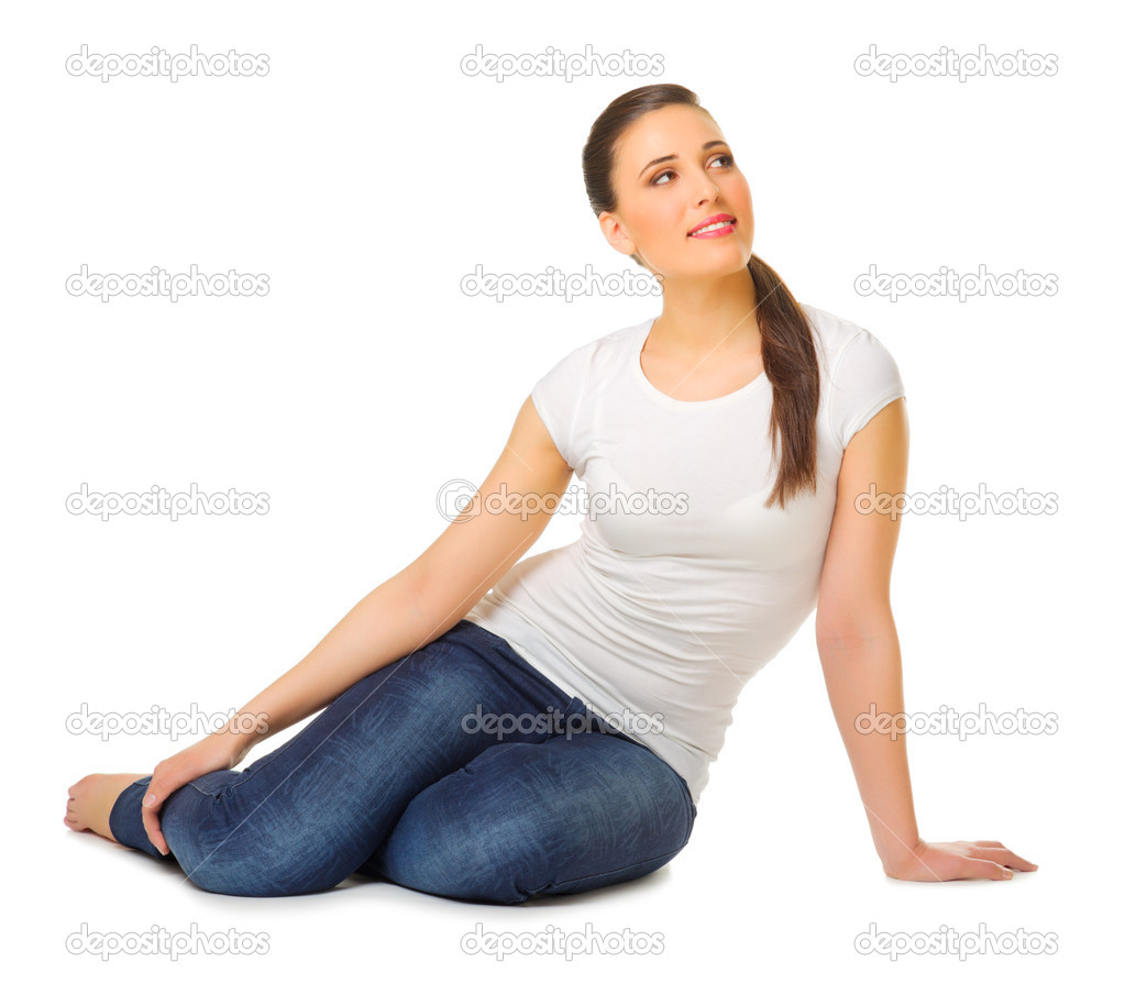 smiling young girl sit on the floor stock photo rbvrbv 11646483. Black Bedroom Furniture Sets. Home Design Ideas