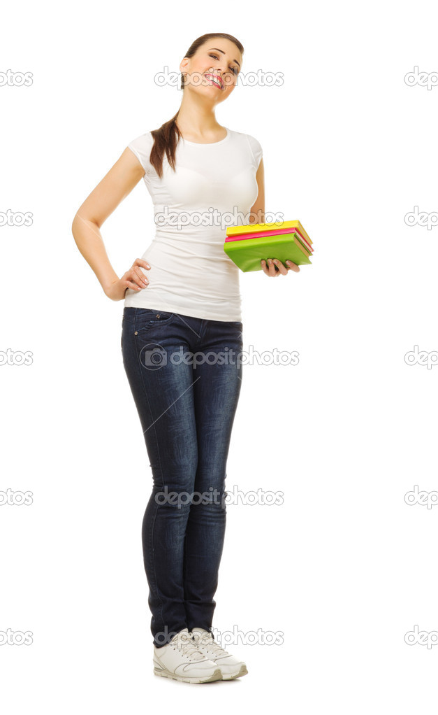Young girl with books isolated — Stock Photo #12245711