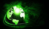 Shining green globe with dollars — Stock Photo