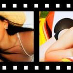 filmový pás s fotografiemi s úsměvem dovolená — Stock fotografie