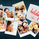 tabulka s fotky z dovolené z happy joying okolí — Stock fotografie