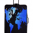 Stock Photo: Dark suitcase with continent drawing isolated over white