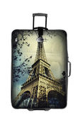 Dark suitcase with eiffel tower photo isolated over white — Stockfoto