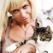 Stock Photo: Blond womwith cat