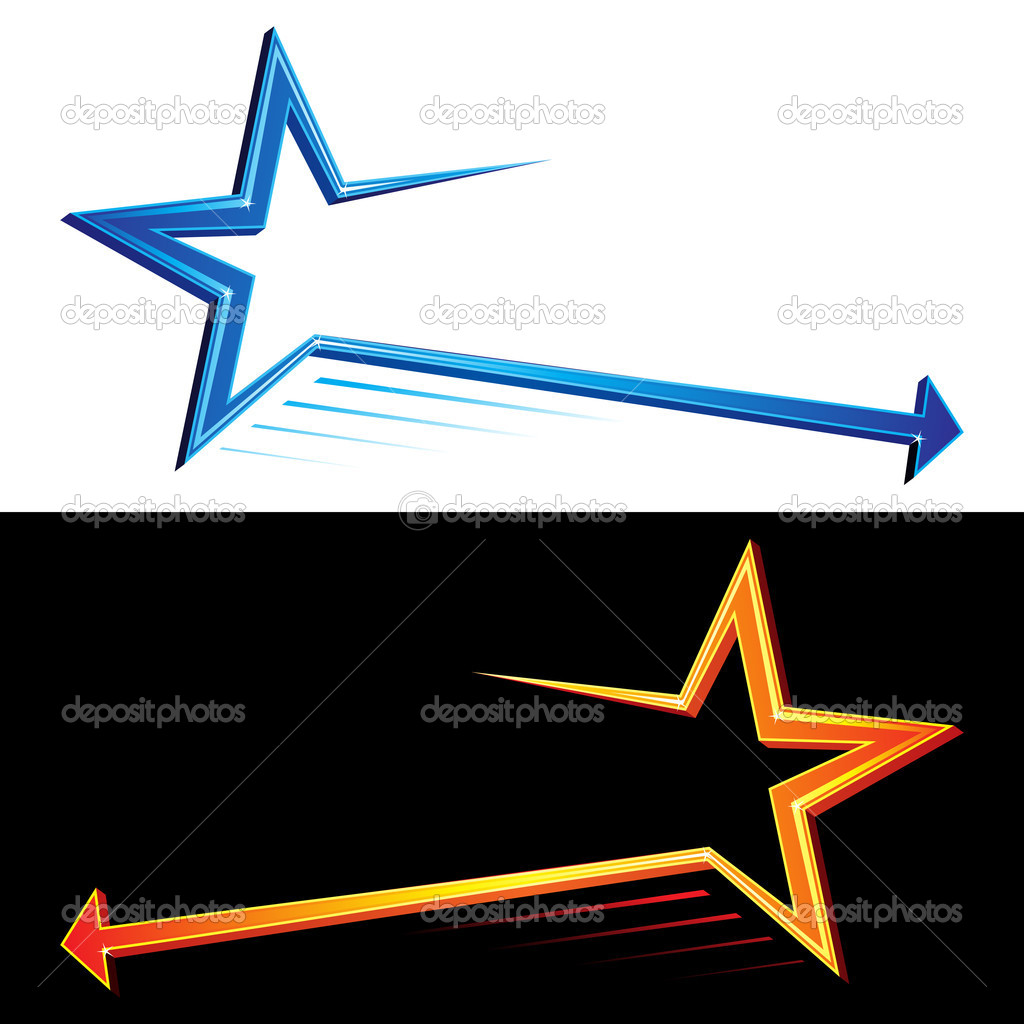 Set of two colorful stars symbols with arrow — Stock Vector #11535845