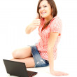 Stock Photo: Successful girl with laptop and thumb up