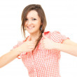 Smiling girl with thumbs up — Stockfoto