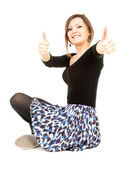 Elegant young woman with thumbs up — Stock Photo