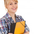 Foto de Stock  : Student womwith note pad