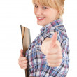 Stock Photo: Student woman with note pad