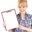 Cheerful student girl with clipboard — Stock fotografie