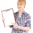 Student woman with clipboard — Foto de Stock