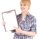 donna studente con appunti — Foto Stock
