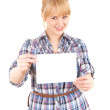 Secretary with blank card — Stock Photo