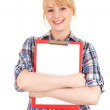 Secretary with blank clipboard — Stock Photo