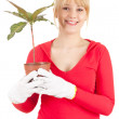 Cheerful woman with plant in pot — 图库照片